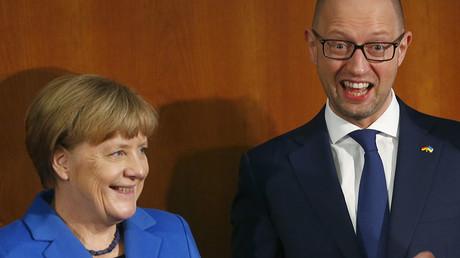 German Chancellor Angela Merkel and Ukraine Prime Minister Arseniy Yatsenyuk. ©Hannibal Hanschke