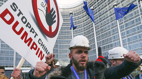 Steel workers protest cheap Chinese imports in Brussels