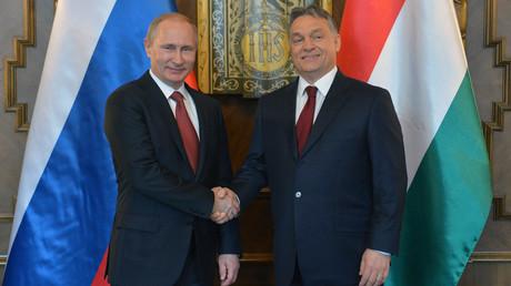 Russia's President Vladimir Putin (L) shakes hands with Hungarian Prime Minister Viktor Orban © Alexei Druzhinin