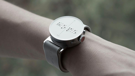 The braille smartwatch uses 30 pins. © Dot