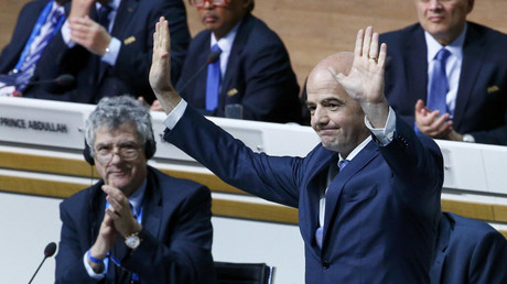 Newly elected FIFA President Gianni Infantino gestures next to UEFA Vice-President Angel Maria Villar Llona (L) during the Extraordinary Congress in Zurich, Switzerland February 26, 2016. © Ruben Sprich
