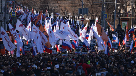 Participants of a march, which marks a year since the deadly shooting of politician and public activist Boris Nemtsov. © Eugene Odinokov