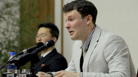 U.S. student Otto Warmbier speaks at a news conference in this undated photo released by North Korea's Korean Central News Agency (KCNA) in Pyongyang February 29, 2016 © KCNA