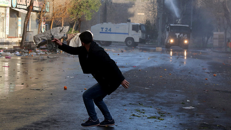Turkish police tear-gas Kurds protesting crackdown in country's southeast