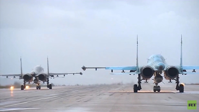 1st VIDEO of Russian jets taking off for home from Syria airbase