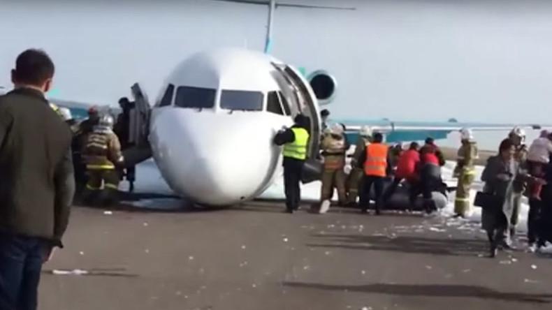 Ace pilots belly land passenger jet in Kazakhstan, all 116 passengers safe (VIDEOS)