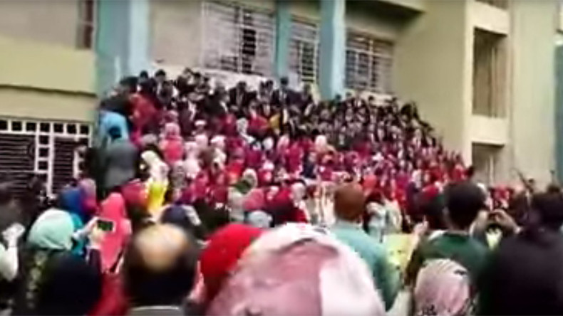 Chaos as stand holding more than 100 graduates collapses in front of horrified parents (VIDEO)