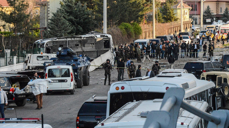 7 killed, 27 injured as suicide bomb strikes police vehicle near bus stop in Diyarbakir