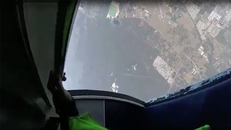 Near death wingsuit collision that paralysed skydiver captured on VIDEO
