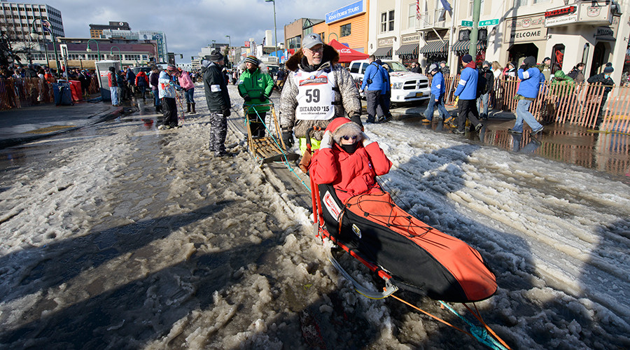 Alaska ships in snow for Iditarod start, mimicking state's original dogsled relay