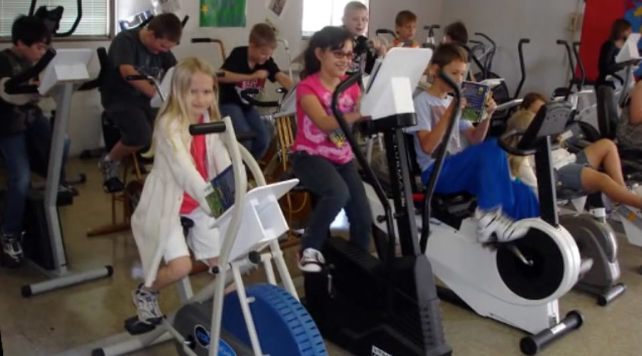 Pedaling pupils use exercise bikes to stay fit and alert in class