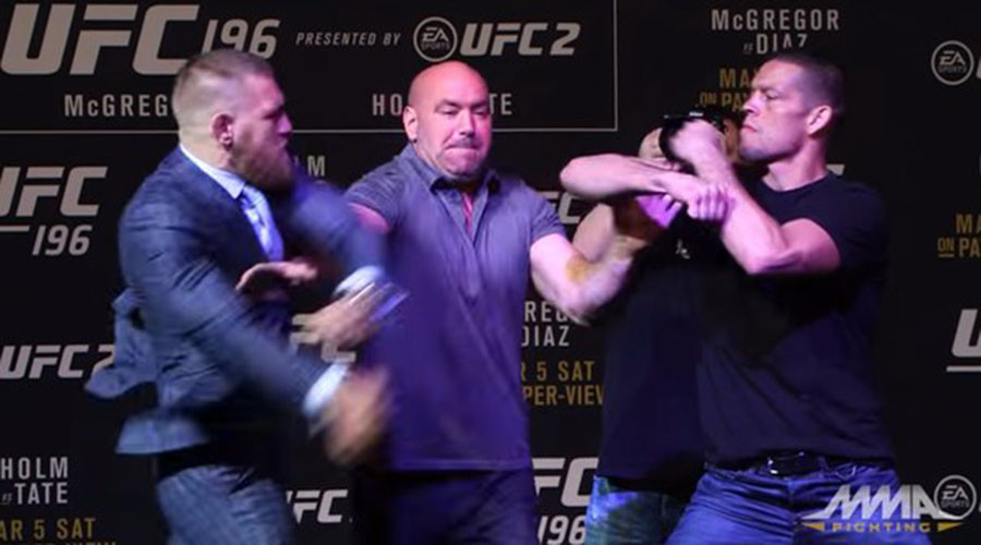 McGregor and Diaz scuffle ahead of UFC 196 bout (VIDEO)