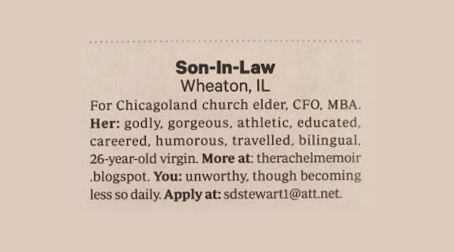 'Godly, gorgeous, virgin': Dad posts creepy ad in Christian magazine seeking husband for daughter