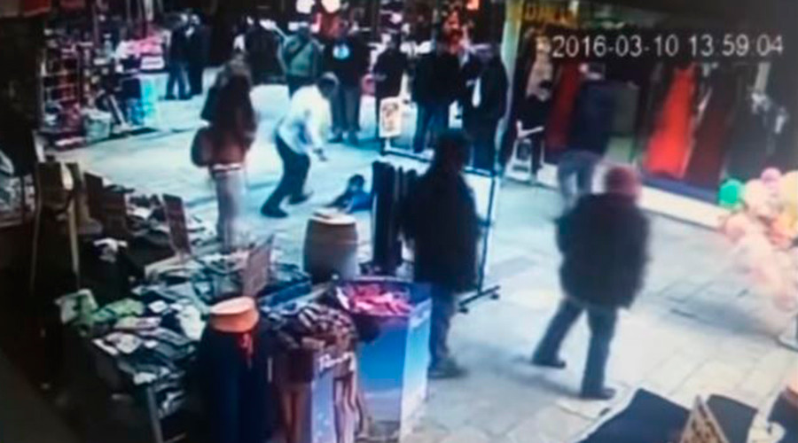 Shocking 'body slam' attack on young Syrian boy in Turkey caught on CCTV (VIDEO)