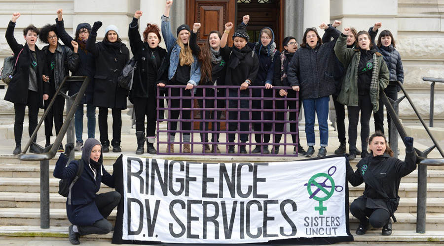 'Women are dying': Sisters Uncut blockades Treasury to protest domestic abuse service cuts