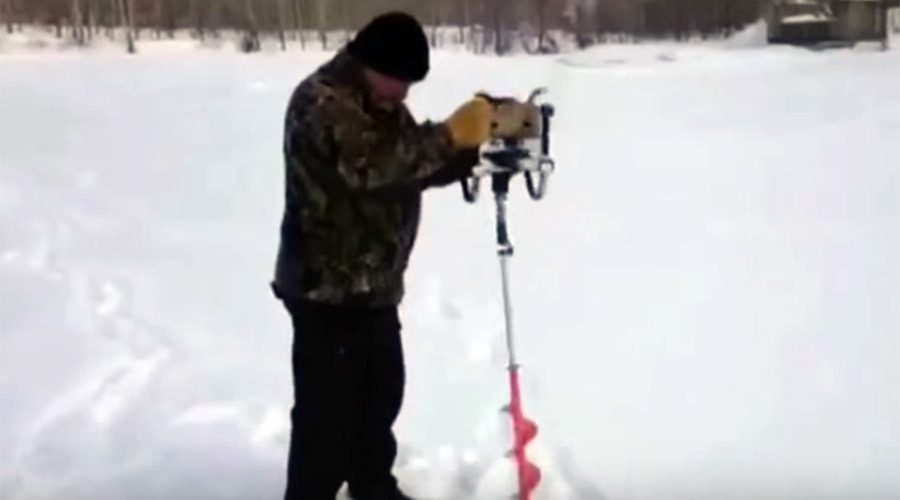 Stay cool: Ice drill jumps free, fights human handler (VIDEO)