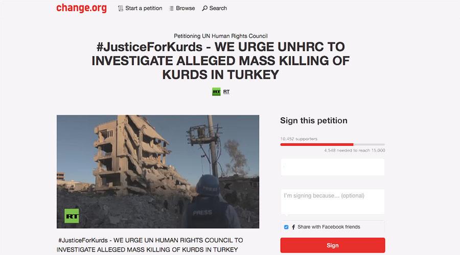 RT's #JusticeForKurds petition garners 10k signatures in matter of days