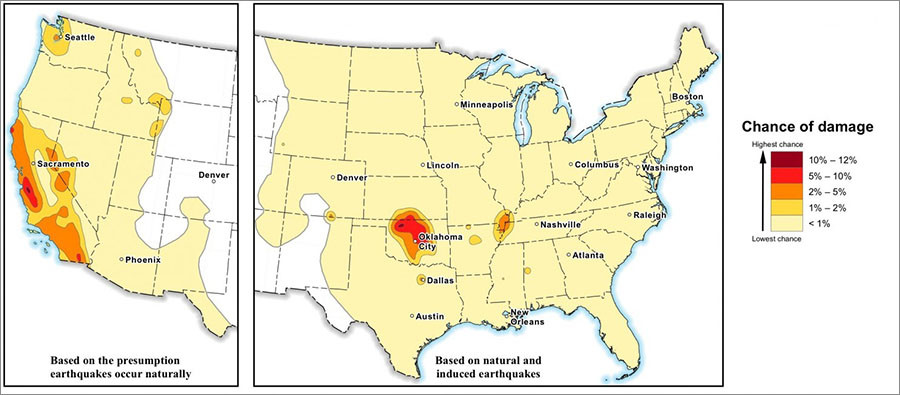 Frackingcaused Earthquakes Put Million Americans At Risk USGS - Fracking us map