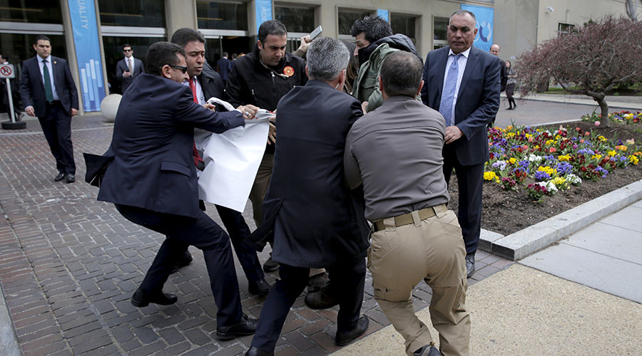 Chaos erupts as Turkish security team kicks out media, confronts DC police at Erdogan event
