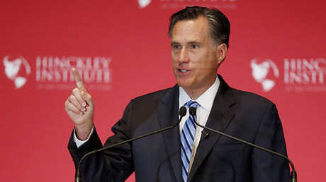 Former Republican U.S. presidential nominee Mitt Romney speaks critically about current Republican presidential candidate Donald Trump and the state of the 2016 Republican presidential campaign during a speech at the Hinckley Institute of Politics at the University of Utah in Salt Lake City, Utah.