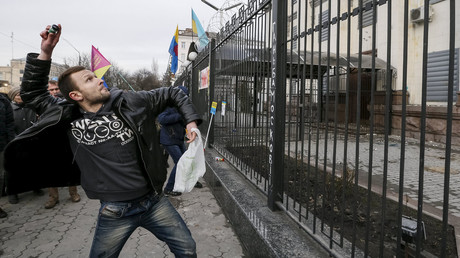 Flares, eggs, stones: Protesters attack Russian embassy twice in Kiev (VIDEO)