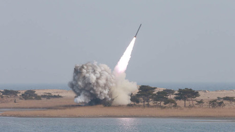 A new multiple launch rocket system is test fired in this undated photo released by North Korea's Korean Central News Agency (KCNA) in Pyongyang March 4, 2016. © KCNA