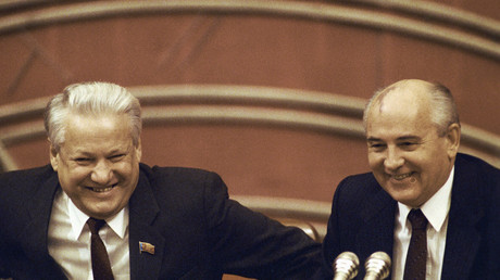 File photo: Chairman of the USSR Supreme Soviet Boris Yeltsin (left) and the USSR President Mikhail Gorbachev (right) in the presidium of the 4th congress of people's deputies. © 