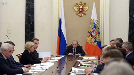 March 16, 2016. Russian President Vladimir Putin holds a meeting with Government members in the Kremlin. © Aleksey Nikolskyi