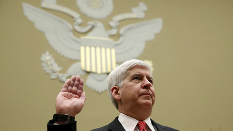Michigan Governor Rick Snyder is sworn in to testify before a House Oversight and government Reform hearing on