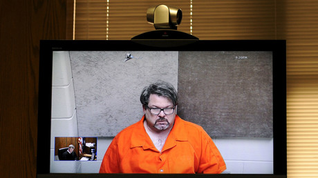 Jason Dalton is seen on closed circuit television during his arraignment in Kalamazoo County, Michigan, February 22, 2016. © Mark Kauzlarich