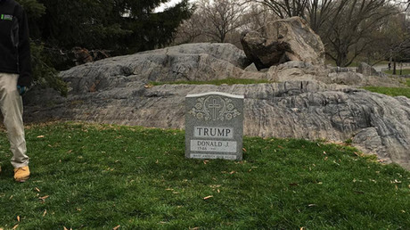 Pranksters place Donald Trump tombstone in New York's Central Park