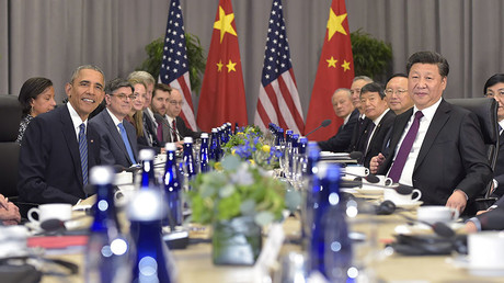 US President Barack Obama and China's President Xi Jinping ( R) take part in a bilateral meeting on the sidelines of the Nuclear Security Summit at the Walter E. Washington Convention Center on March 31, 2016 in Washington, DC. © Mandel Ngan