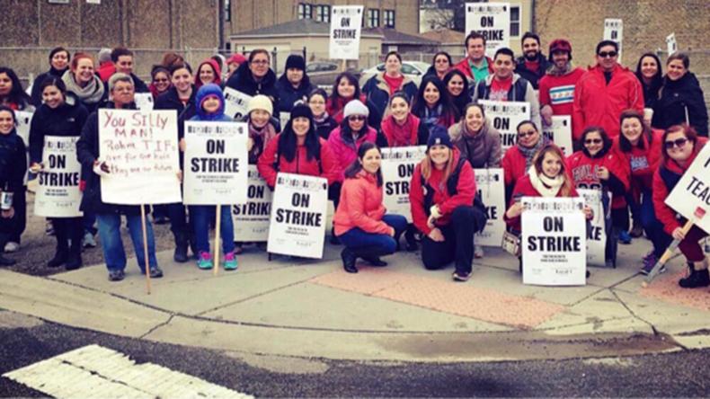 Chicago teachers strike against austerity duo 'Rahm & Rauner'