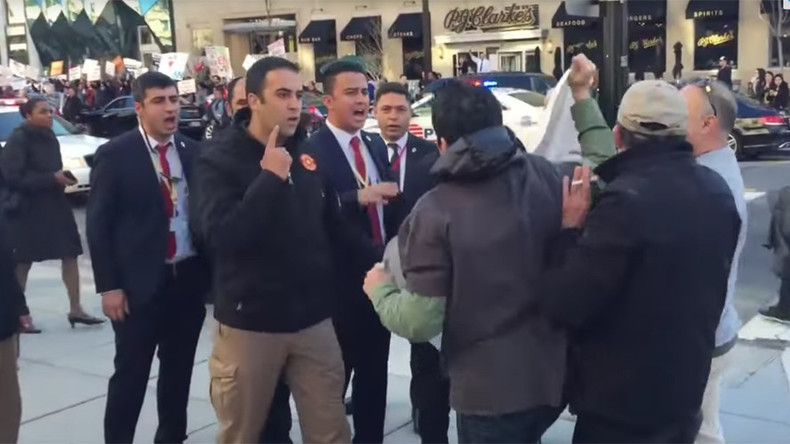 Erdogan's security team makes bizarre attempt to drown out protesters in DC (VIDEOS)