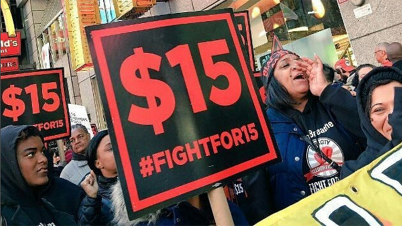 Thousands take to streets, McDonald's across US to fight for $15 minimum wage