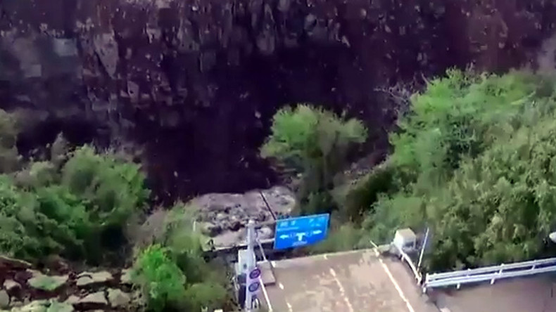 Troubled waters & no bridge: Drone shoots gaping chasm after Kumamoto quake (VIDEO)