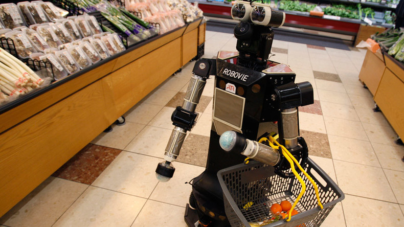 Nouveau riche Chinese mogul goes shopping accompanied by 8 robotic servants