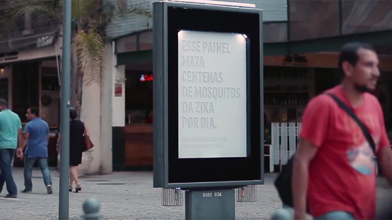 'Sweaty' billboard kills Zika-carrying mosquitoes (VIDEO)