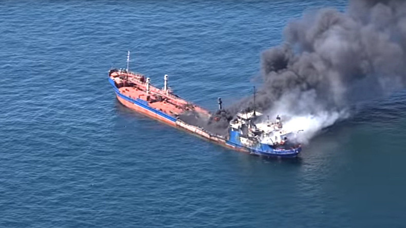 Russian tanker catches fire in Caspian Sea, 1 crew member reported killed (VIDEO)
