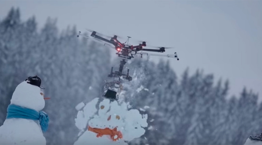 Chainsaw-wielding 'killer drone' massacres snowmen, gets defeated by pink balloon (VIDEO)