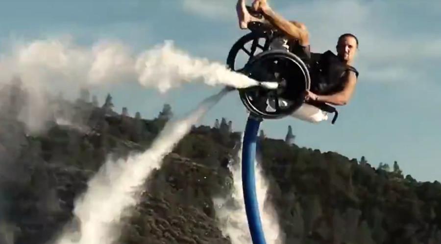 Incredible wheelchair watersport stunt propelled by aqua jetpack (VIDEO)