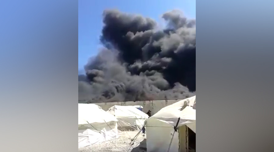 Fire breaks out at refugee camp in northern Greece
