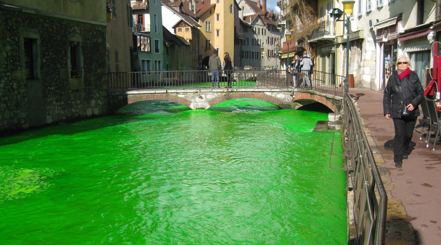 French rivers dyed green – and it's not even St Patrick's Day