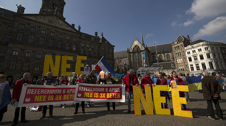 Demonstrators call for people to vote no in the EU referendum during a protest at Dam Square in Amsterdam, the Netherlands April 3, 2016. The banners read: