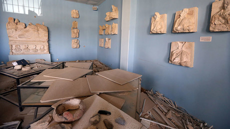 A picture taken on March 31, 2016 shows destruction at the museum of the ancient city of Palmyra, some 215 kilometres northeast of Damascus. © Joseph Eid
