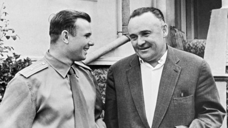 Hero of the Soviet Union and Pilot-Cosmonaut of the U.S.S.R. Yuri Gagarin (left) and Twice Hero of Socialist Labor, Lenin Prize holder and Academician Sergey Korolev. © I. Snegirev