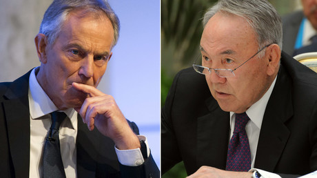 Former British Prime Minister Tony Blair, President of Kazakhstan Nursultan Nazarbayev © Michael Klimentyev, Brendan McDermi (Reuters)