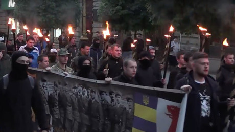 Ukrainian Neo-Nazis mark anniversary of Galicia SS division with torchlit march (VIDEO)