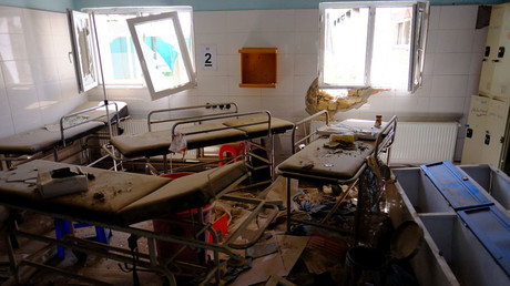 Hospital beds lay in the Medecins Sans Frontieres hospital in Kunduz, Afghanistan on April 26, 2016. © Josh Smith