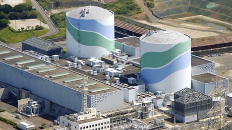 An aerial view shows the No.1 (L) and No.2 reactor buildings at Kyushu Electric Power's Sendai nuclear power station in Satsumasendai, Kagoshima prefecture, Japan. © Kyodo TPX